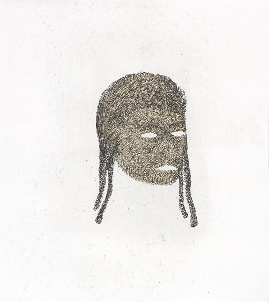 head, hardground, drypoint and chine colle on Rives BFK, 2008