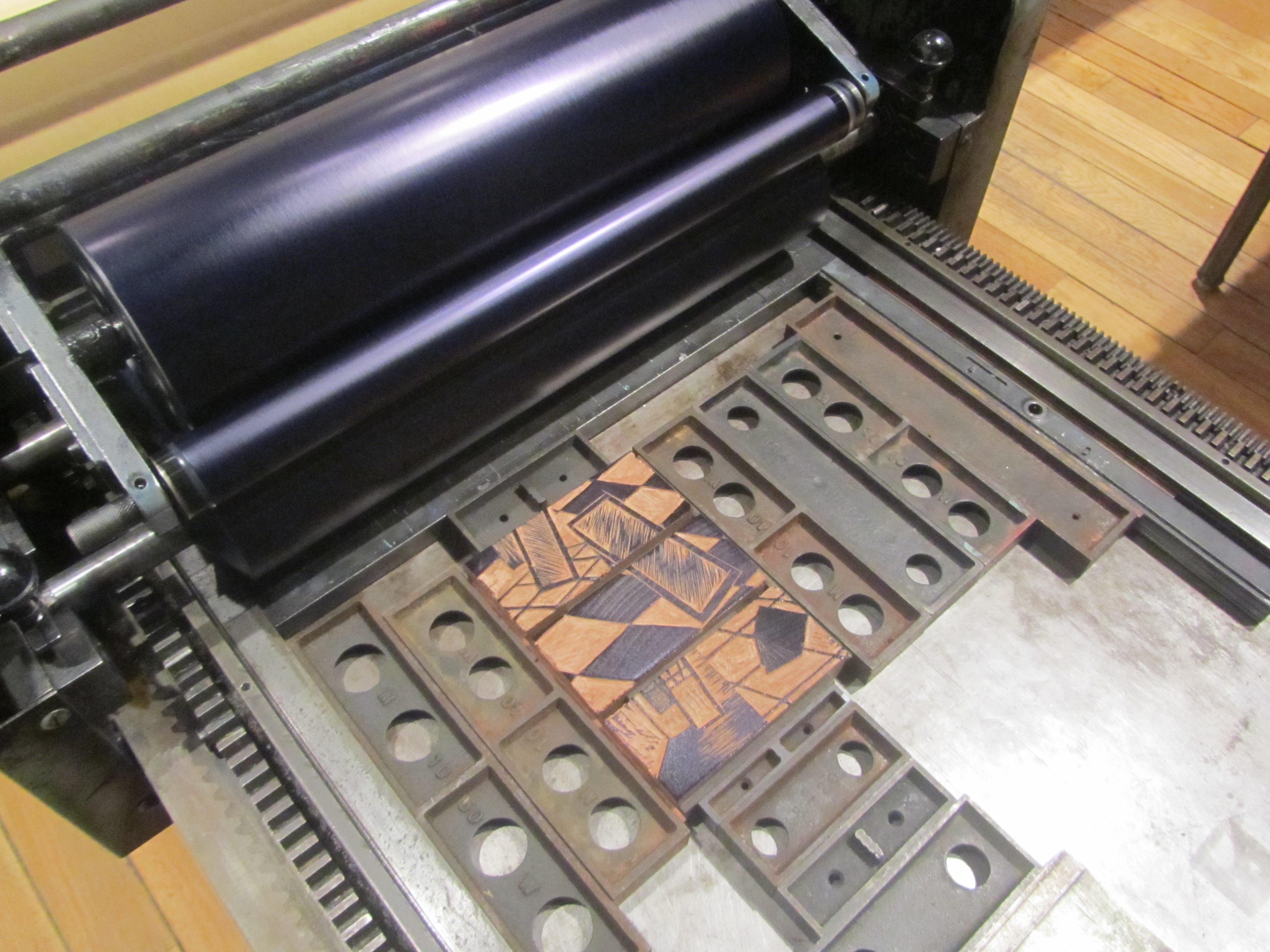 Wood engraving blocks ready for printing